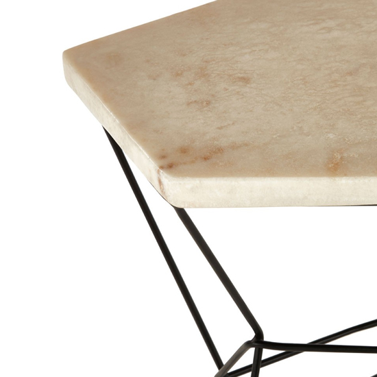 Relics Natural Onyx Stone Polygonal Side Table With Black Frame_4