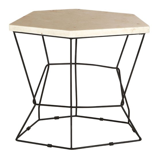 Relics Natural Onyx Stone Polygonal Side Table With Black Frame_1