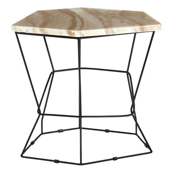 Relics Natural Patterned Onyx Stone Side Table With Black Frame