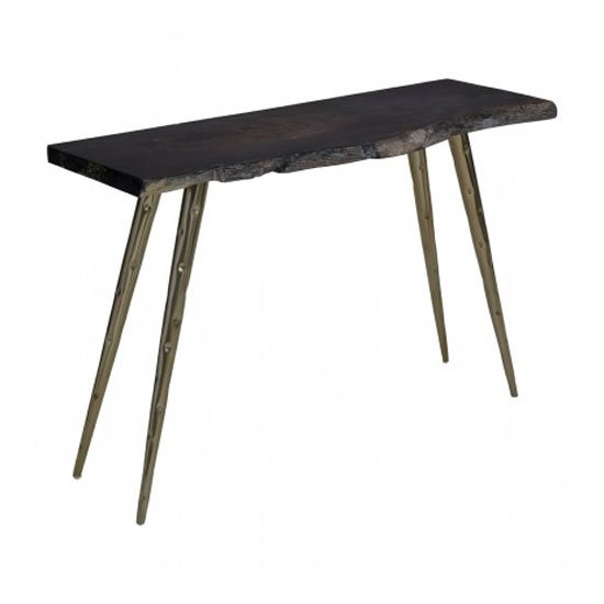 Relics Petrified Wood Top Console Table In Black With Steel Legs_2