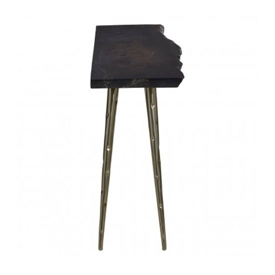Relics Petrified Wood Top Console Table In Black With Steel Legs_3