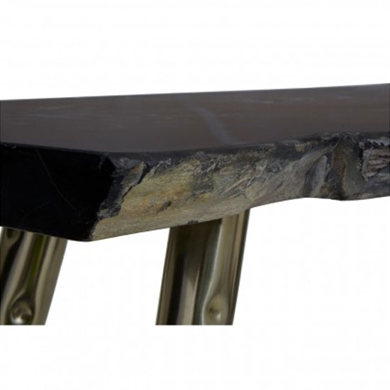 Relics Petrified Wood Top Console Table In Black With Steel Legs_4