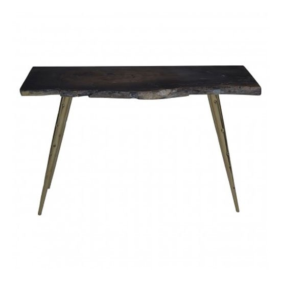 Relics Petrified Wood Top Console Table In Black With Steel Legs