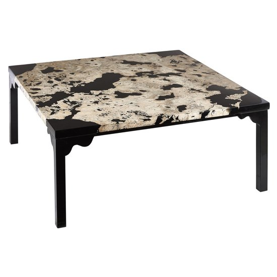 Relics Rectangular Cheese Stone Coffee Table In Black