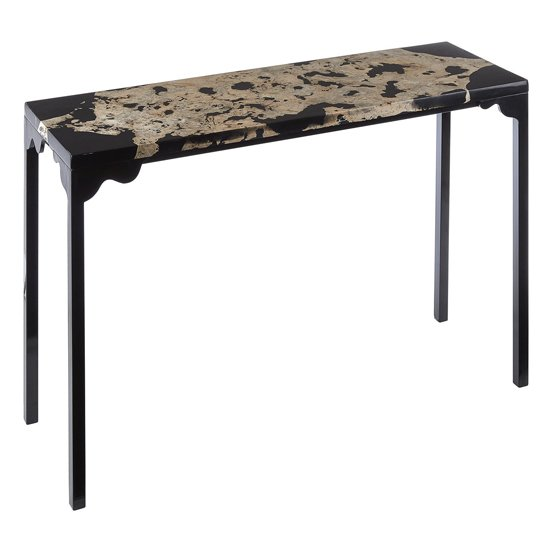 Relics Rectangular Cheese Stone Console Table In Black