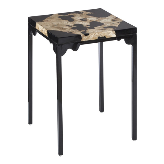 Relics Rectangular Cheese Stone Side Table In Black