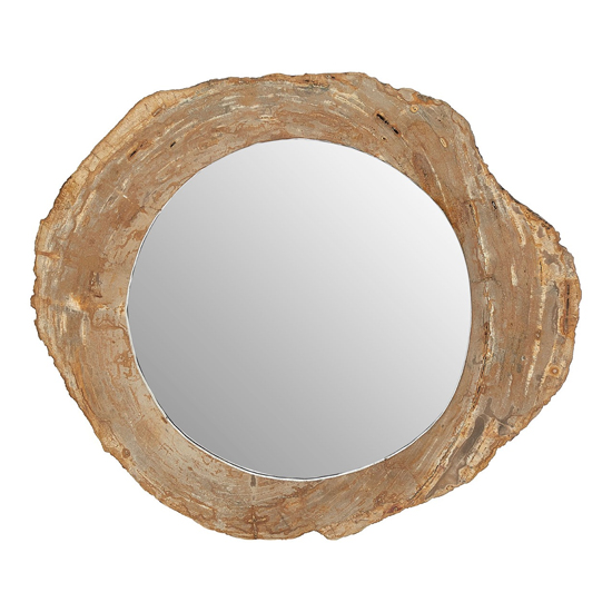 Relics Round Wall Bedroom Mirror In Natural Tones Frame