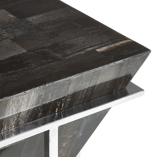 Relics Small Dark Petrified Wooden Side Table In Grey_4
