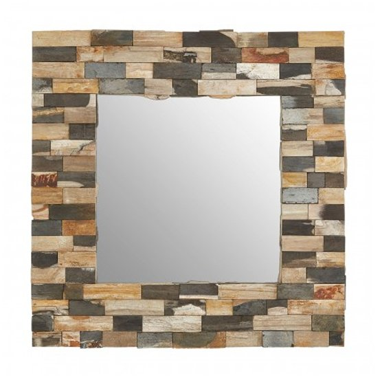 View Relics square tile mosaic effect wall mirror in multicolor frame