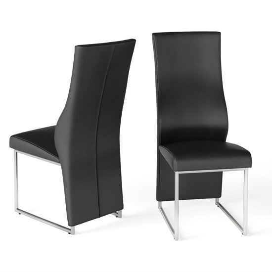 Remo Black Faux Leather Dining Chairs In Pair