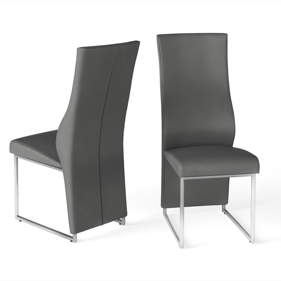 Remo Grey Faux Leather Dining Chairs In Pair