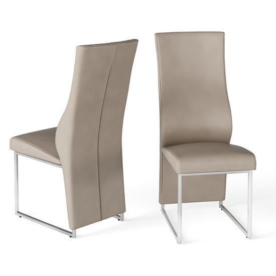 Remo Taupe Faux Leather Dining Chairs In Pair_1