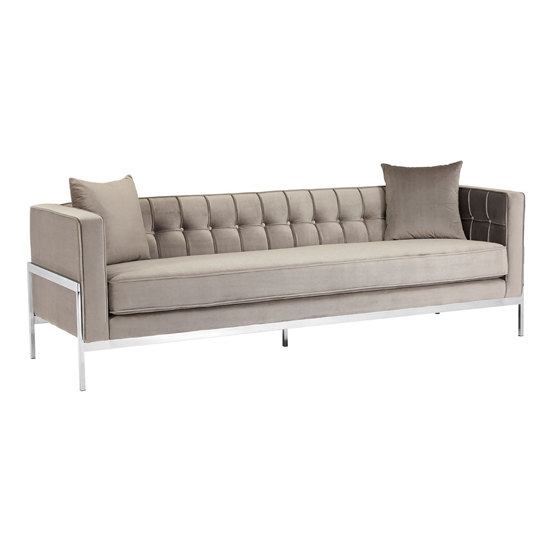 Rena Velvet 3 Seater Sofa In Grey_2