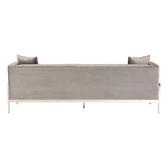 Rena Velvet 3 Seater Sofa In Grey_4