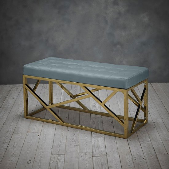 Renata Fabric Dining Bench In Green With Gold Frame