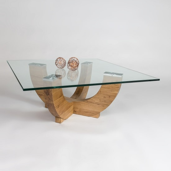Renato Glass Coffee Table Square In Clear With Wild Oak Base