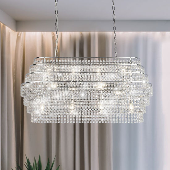 Rene Wall hung 12 Pendant Light In Chrome With Hanging Crystal_2