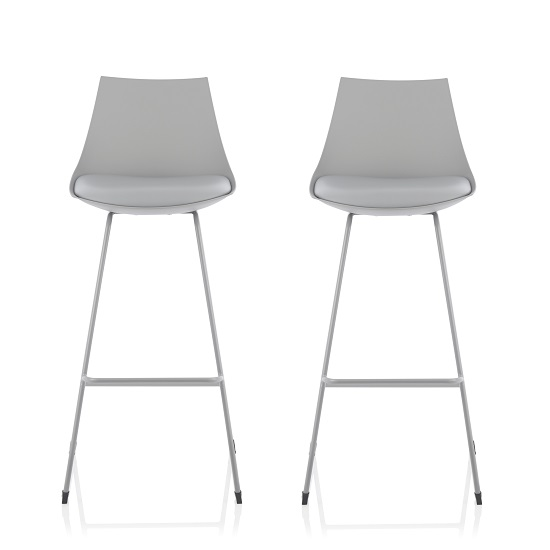 Renea Bar Stools In Grey Faux Leather Seat Pad In A Pair