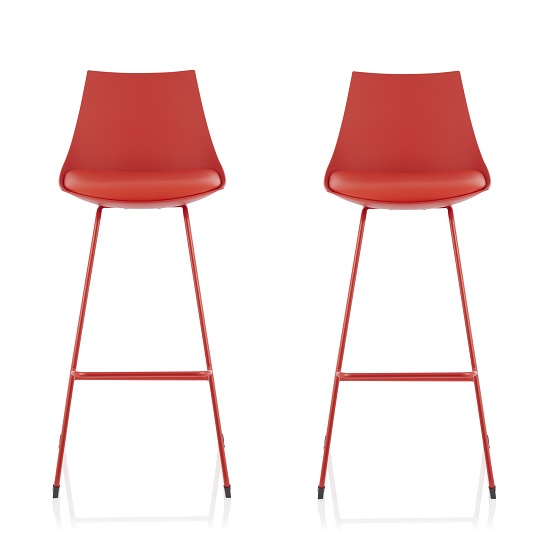 Renea Bar Stools In Red Faux Leather Seat Pad In A Pair