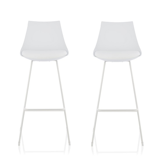 Renea Bar Stools In White Faux Leather Seat Pad In A Pair