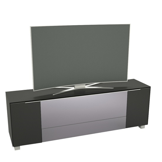 Renee Modern TV Stand In Black Matt Glass And Grey Mirror Flap