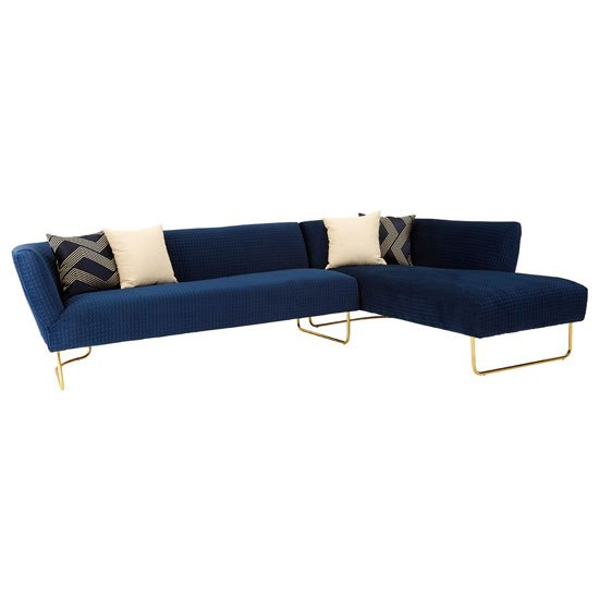 View Reneey velvet 5 seat corner sofa in dark blue