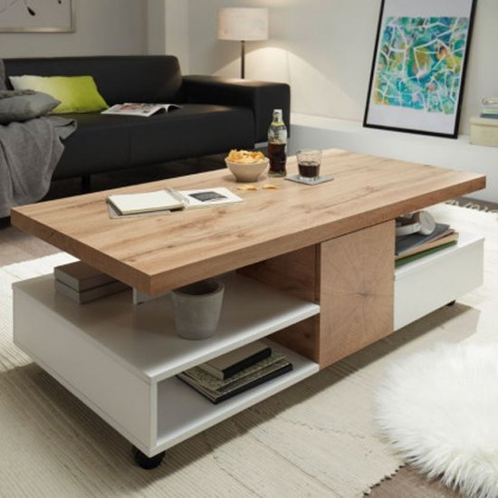 Rennes Wooden Rolling Coffee Table In Oak And White