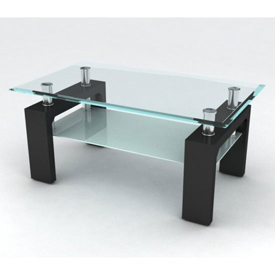 Reno Glass Coffee Table In Clear With Black High Gloss Base