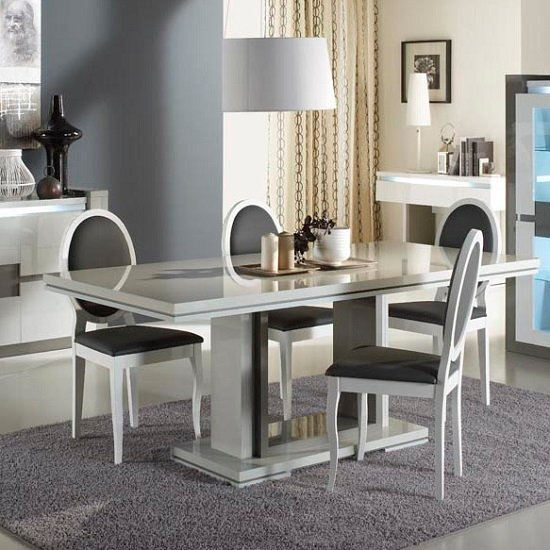 Renoir Rectangular Dining Table In High Gloss Taupe And Grey_2