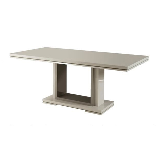 Renoir Rectangular Dining Table In High Gloss Taupe And Grey_1