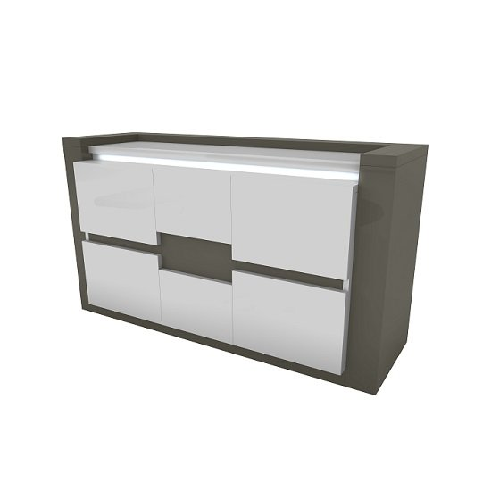 Renoir small sideboard in taupe and grey gloss with lights for Sideboard taupe