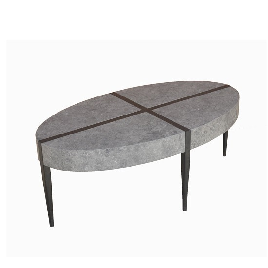 Renzo Oval Coffee Table In Dark Concrete With Metal Legs