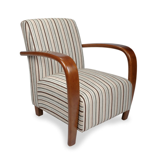 Restmore Chenille Stripe Armchair In Duck Egg