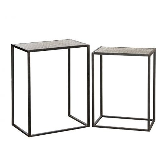 Retia Square Set Of 2 Nesting Tables In Brown With Metal Frame