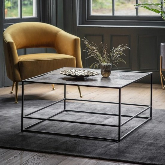Retiro Coffee Table In Antique Gold With Black Metal Frame