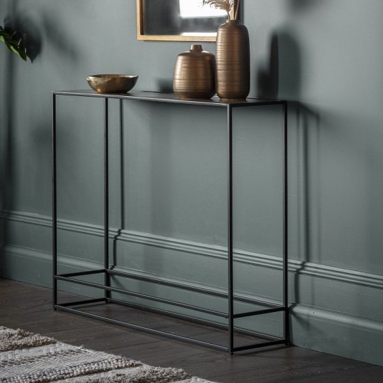 View Retiro console table in antique gold with black metal frame