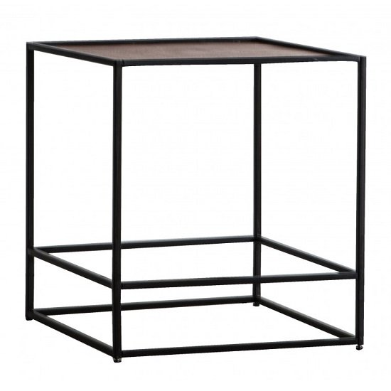 Retiro Side Table In Antique Copper With Black Metal Frame_1