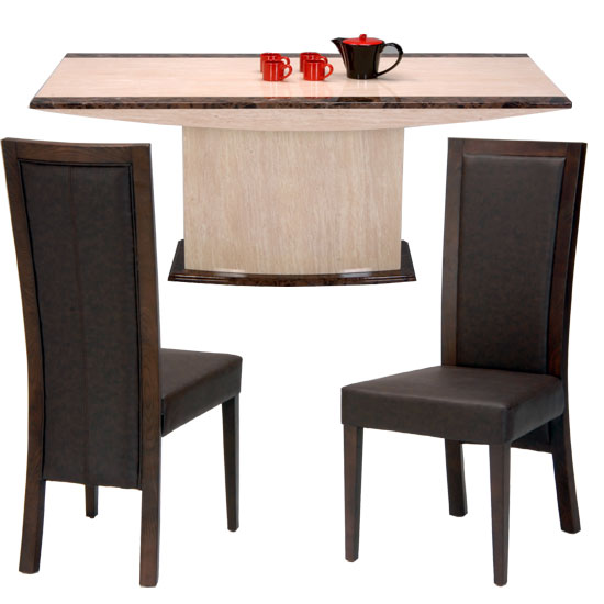 Retro Marble Dining Table With 4 Chairs