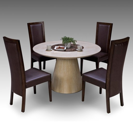Retro Round Marble Dining Table And 4 Elm Chairs