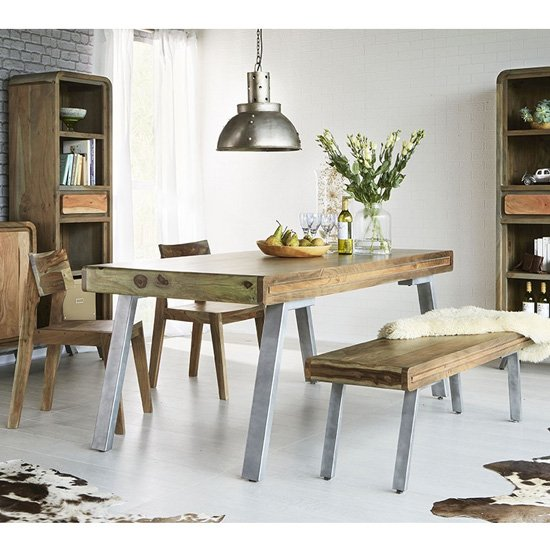 View Reverso dining table in two tone oak with 2 chairs and bench