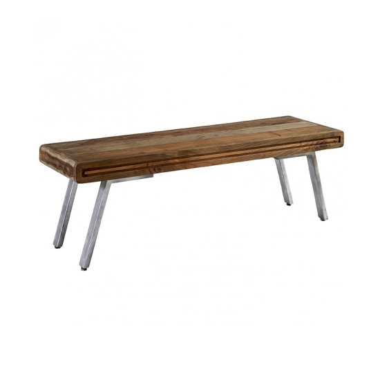 Reverso Wooden Dining Bench In Two Tone Oak