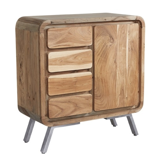 Reverso Wooden Compact Sideboard In Reclaimed Wood And Iron