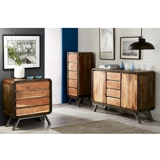 Reverso Wooden Tall Chest Of Drawers In Reclaimed Wood And Iron_2