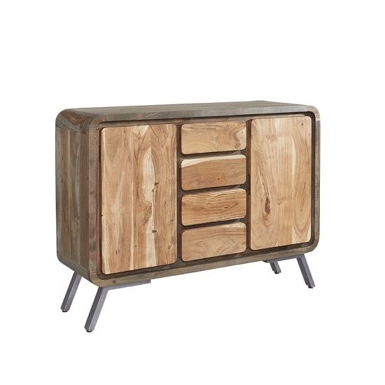 Reverso Wooden Sideboard In Reclaimed Wood And Iron