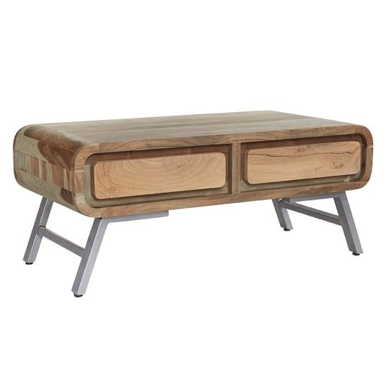 Reverso Wooden Coffee Table In Reclaimed Wood And Iron