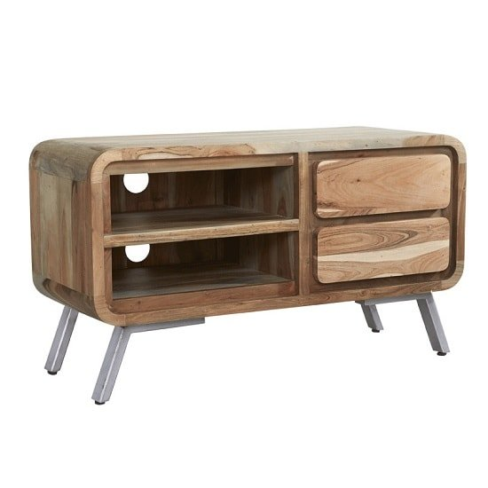 Reverso Wooden TV Stand Medium In Reclaimed Iron And Wood