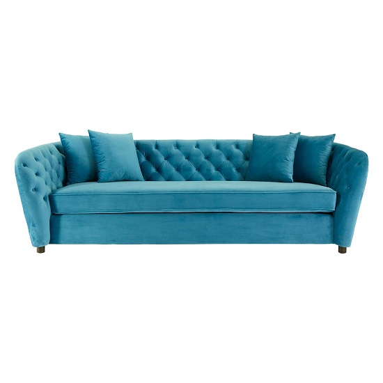 Revive 3 Seater Sofa In Cyan Velvet With Wooden Legs_2