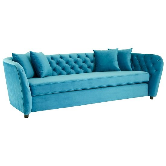Revive 3 Seater Sofa In Cyan Velvet With Wooden Legs_3