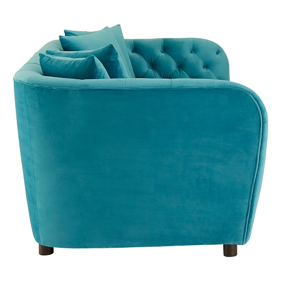 Revive 3 Seater Sofa In Cyan Velvet With Wooden Legs_4