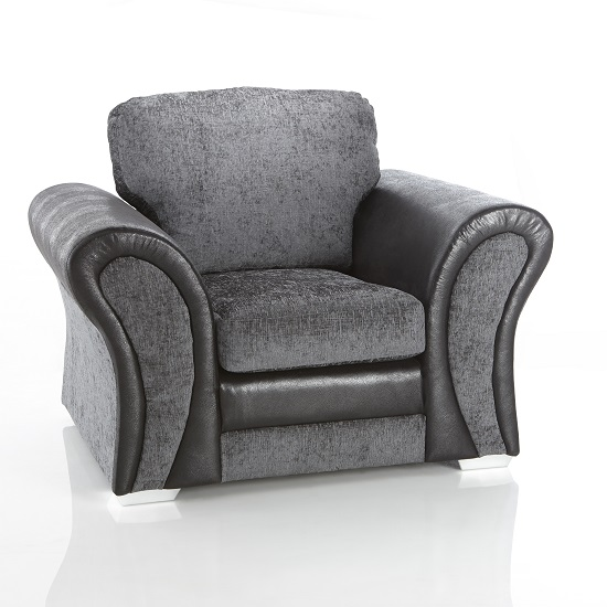 Revive 1 Seater Sofa In Black PU and Grey Fabric